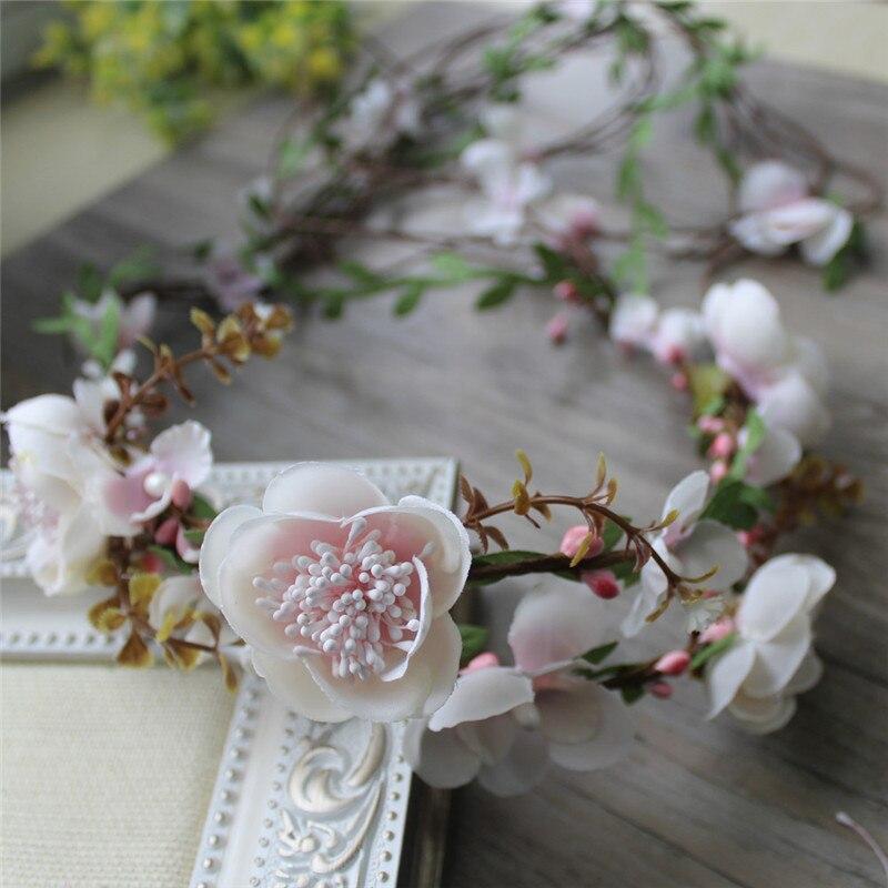 Accesorios de cabello para chica novia dama de honor boda decoración princesa ratán ajustable cinta para el cabello con guirnalda de flores corona Banda del cabello