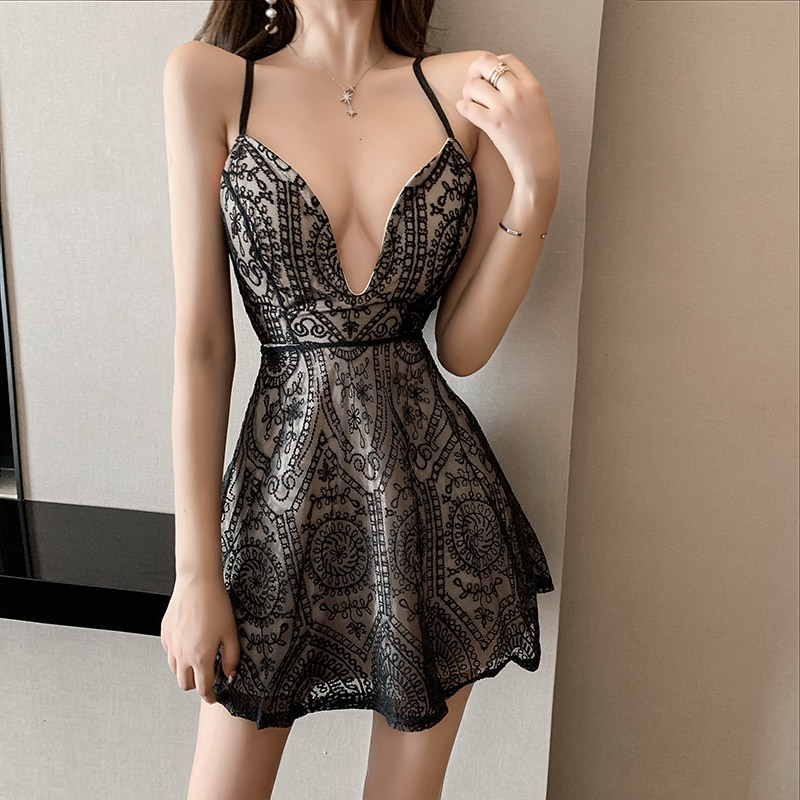 Women VIntage Sexy Deep V-Neck Backless Cross Lace Hollow Out Party Birthday Club Evening Strap Spaghetti Dress