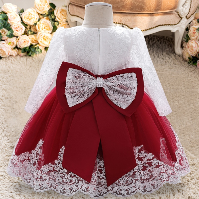 AliExpress - PLBBFZ Summer Long Sleeve 0 2 1 Year Birthday Dress For Baby Girl Clothes Flower Princess Dresses Evening Dress Infant Vestido
