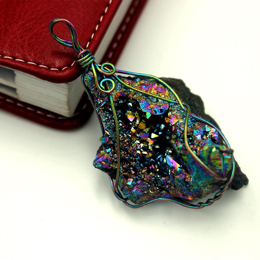 2019 Новая мода хрустальный кулон обернутый радужные титановые кристаллы Друза Кварц Geode кулон из бисера