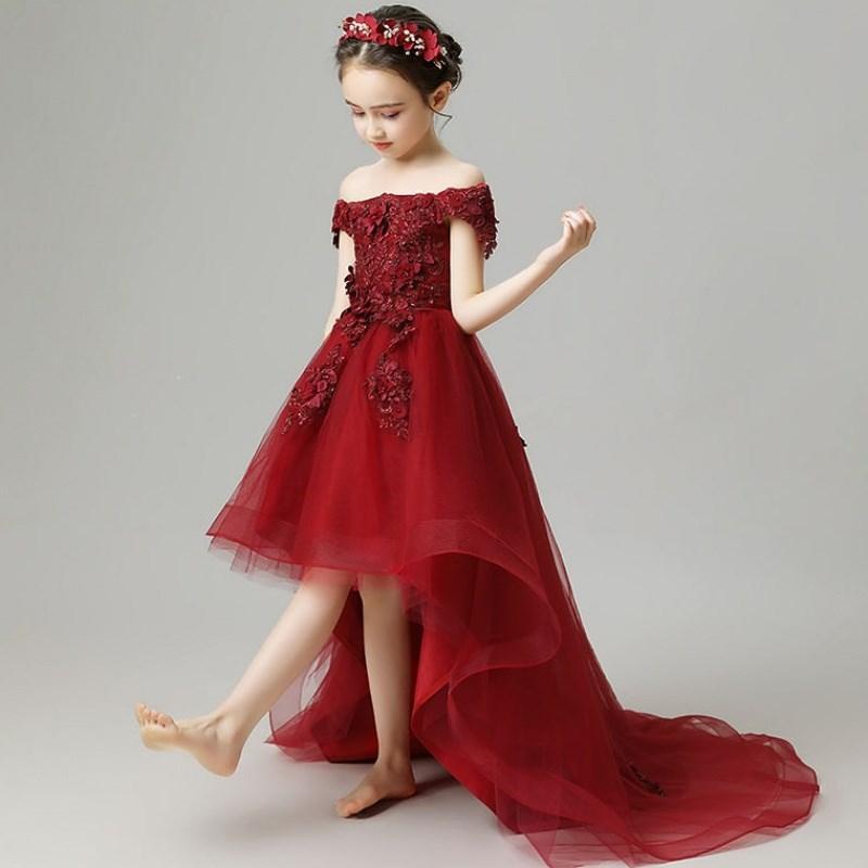 2021 Spring Autumn Kids Wedding Flower Girl Dress One Shoulder Elegant Princess Party Pageant Formal Dress Tulle Dresses K260 enlarge