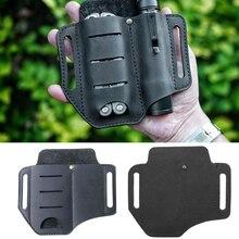 Funda para herramienta de cuero con 2 bolsillos, multiherramientas para campamento, soporte para caza, organizador esencial, bolsa para cinturón, bolsillo, pluma táctica, linterna