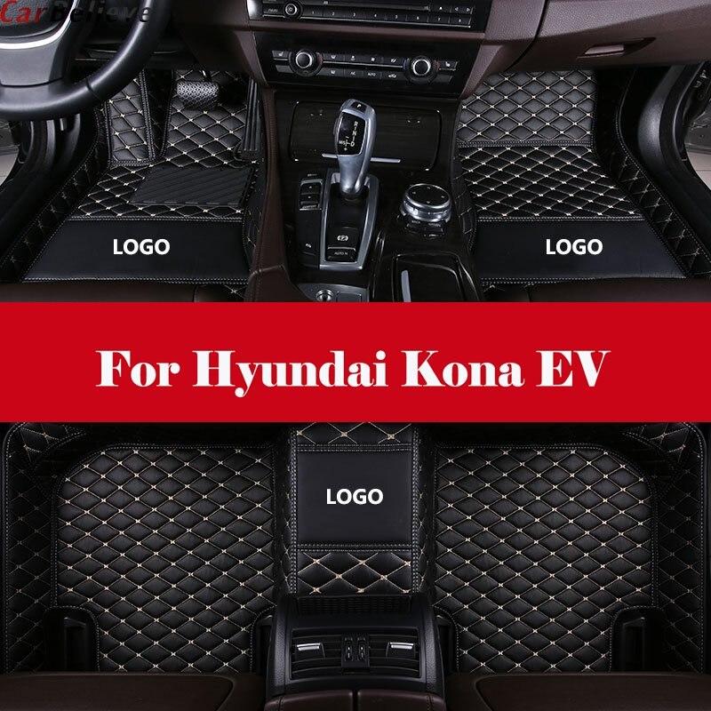Tapete de carro à prova dágua 3d, conjunto completo de tapetes de couro xpe feito sob encomenda para hyundai kona ev