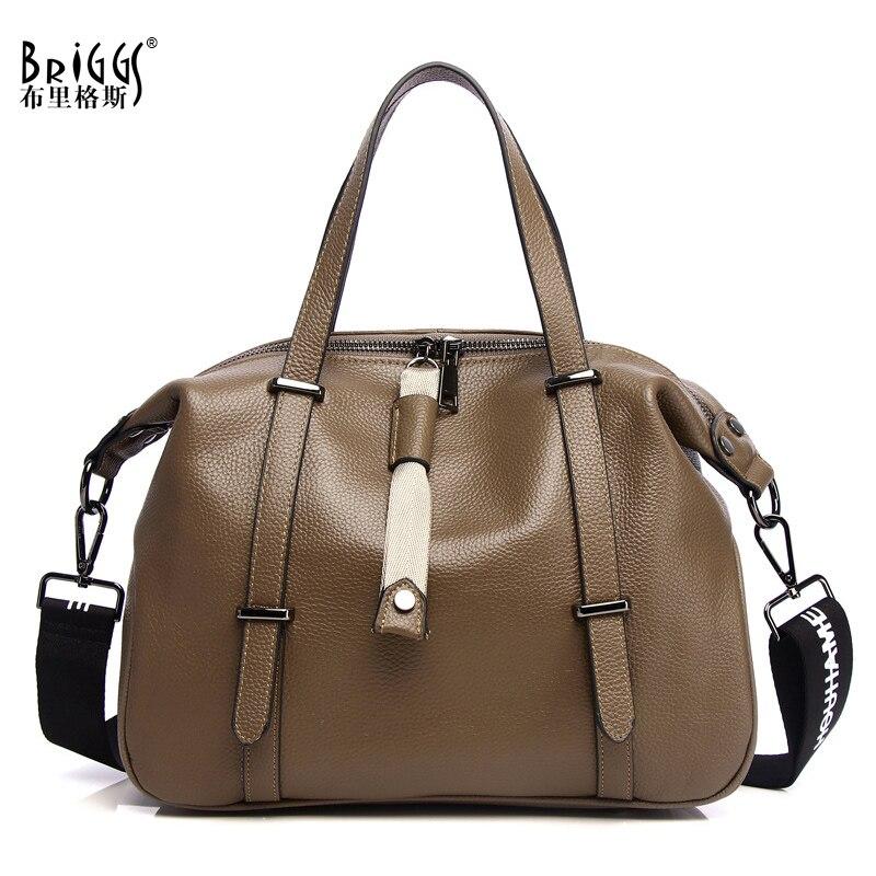 BRIGGS Vintage Women Genuine Leather Bag Lady Shopping Handbag Female Shoulder Bags Simple Fashion Shopper Casual Totes