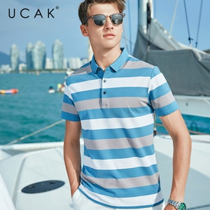 UCAK Brand Classic Turn-down Collar Striped T-Shirt Men Clothes Summer New Fashion Style Streetwear Casual Cotton Tee Tops U5601