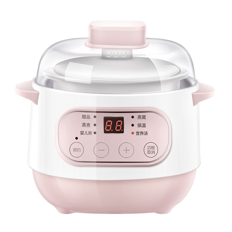 dmwd electric intelligent slow cookers mini timing water stewing soup porridge pots multifunctional ceramic whiteware liner 0 7l Slow cooker steamer porridge and soup water-proof saucepan 1L smart appointment + timing slow cooker automatic heat preservation