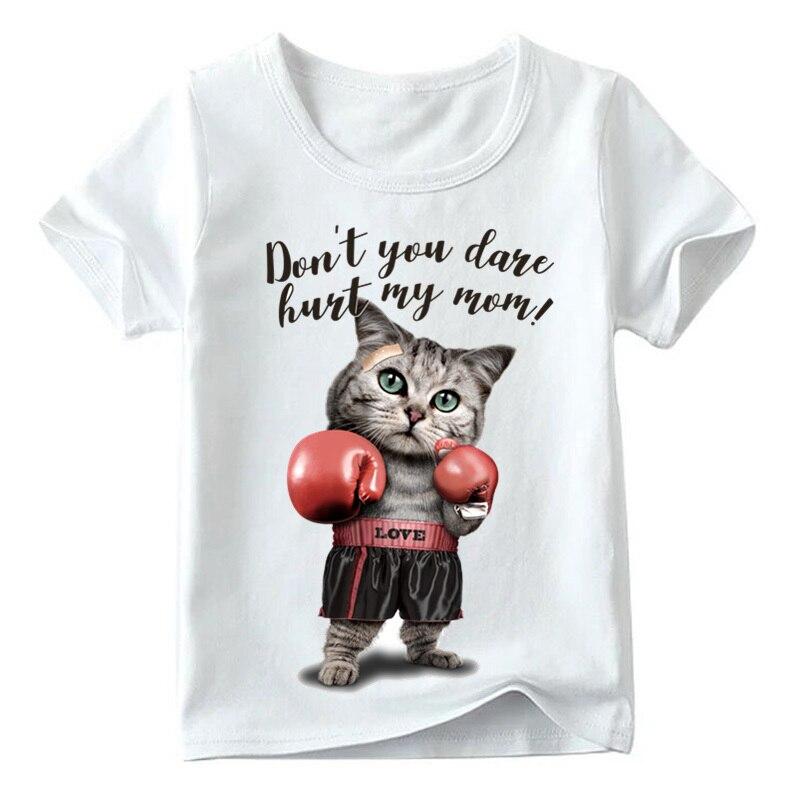 Camiseta con estampado de gato de boxeo para niños camisetas de manga...
