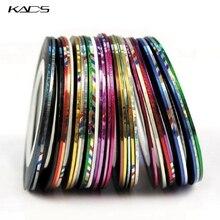 KADS 30PCS/LOT Mix Color Rolls Striping Tape Metallic Yarn Line Nail Art Decoration Nail Sticker