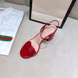 size 42 summer 2020 women sandals girl female 5cm 7cm heel square toe chunky heel women sandas shoes for women Ladies Sandals