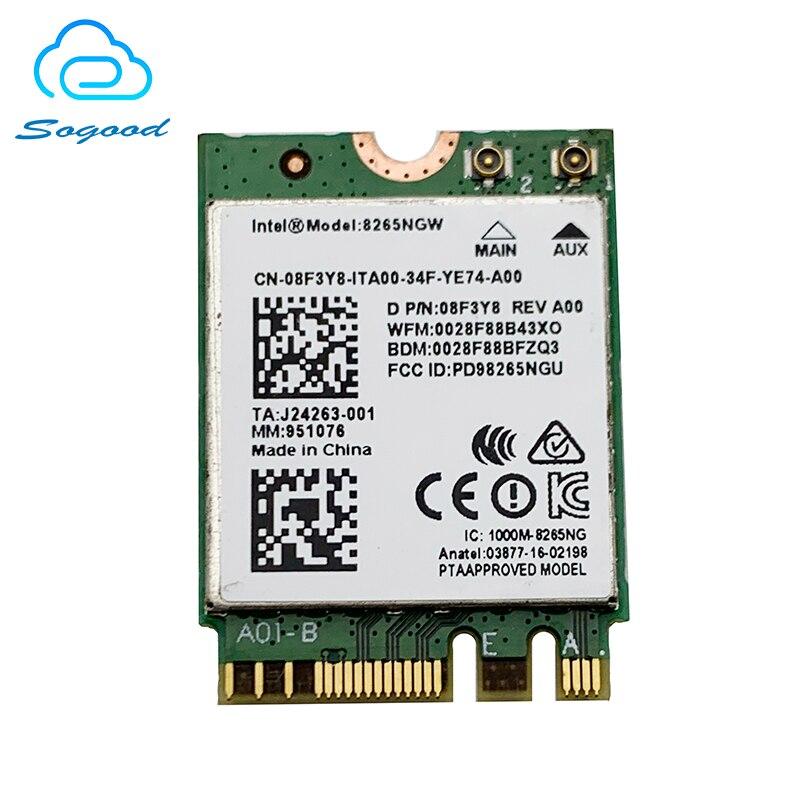 Ordenador portátil Intel 8265NGW 8265AC bluetooth 4,2 802.11ac P/N 08F3Y8 2,4G + 5G NGFF interfaz 867Mbps inalámbrico tarjeta de red para Dell