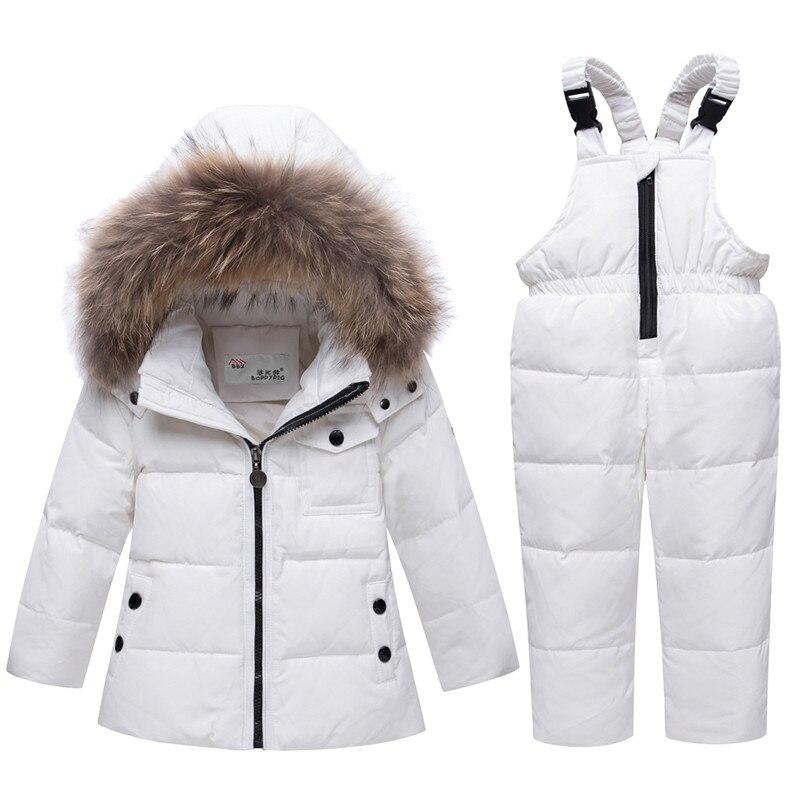 ¡Invierno 2019! Chaqueta de invierno para niños, de piel auténtica parka, Mono para bebés, abrigo para niños, traje de nieve, ropa para niños, conjunto de Ropa para Niñas