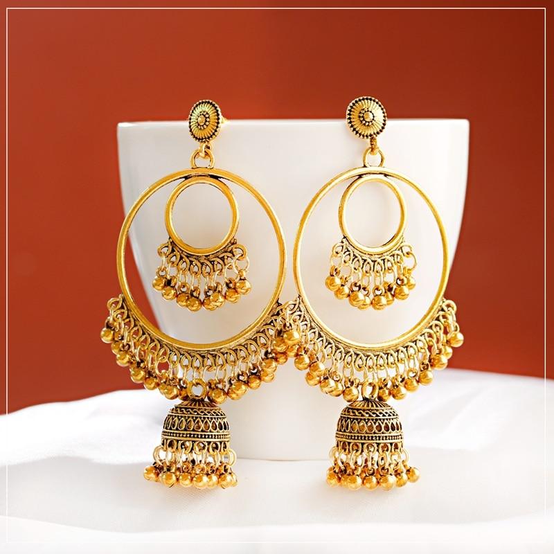 2020 Antique Gold Boho Big Round Circle Gypsy Tribal Indian Drop Earrings For Women Vintage Bell Tassel Earring Womens Jewellery