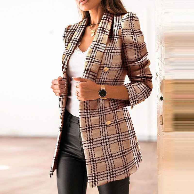 Casual Plaid suits coat Office lady suit collar blazer jacket women Elagant chic slim double-breasted spring coats 2021