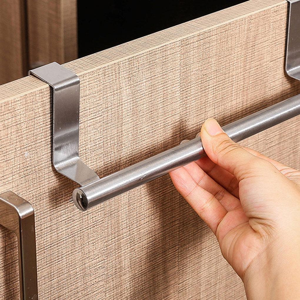 Towel Rack Over Door Towel Bar Hanging Holder Stainless Steel Bathroom Kitchen Cabinet Towel Rag Rack Shelf Hanger