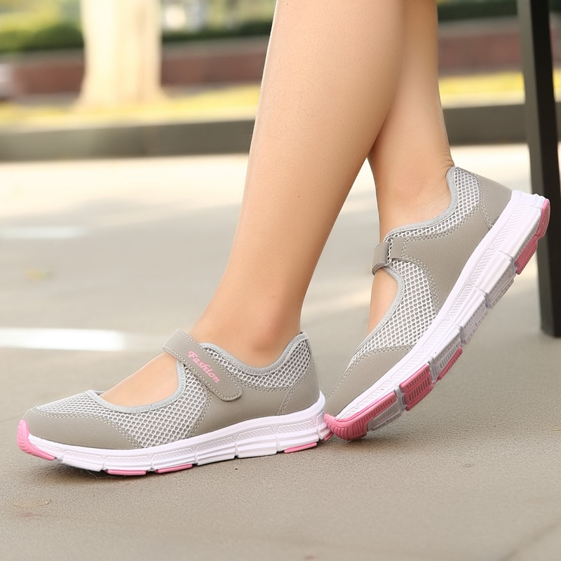 Women Sneakers Fashion Outdoor Mesh Casual Breathable Lightweight Flat Comfy Slip-on Shoes