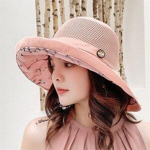 Summer New Women Sun Protection Fisherman Cap Outdoor Beach Holiday Hat Bucket Hat Large Brim Foldable Sandy Beach Visor Gorras