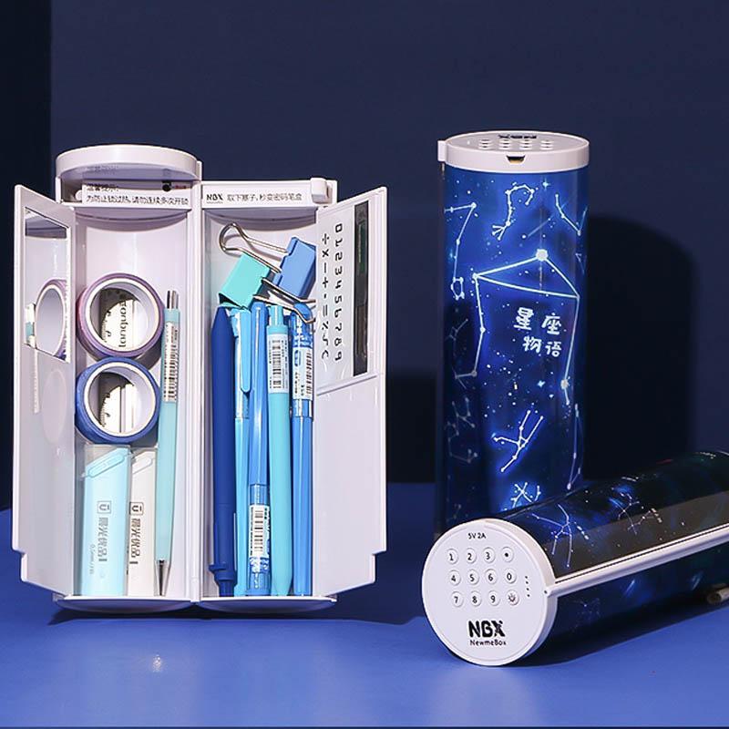 Estuche multifuncional de lápices con contraseña, estuche para lápices de gran capacidad, Cable de carga USB, caja para lápices con espejo, suministros de papelería
