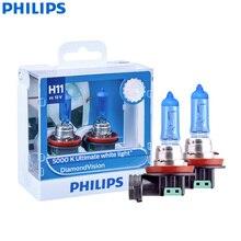 Philips Diamond Vision H11 12V 55W PGJ19-2 12362DVS2 5000K Cool White Car Halogen Headlight Auto Fog Light Beam (Twin Pack)