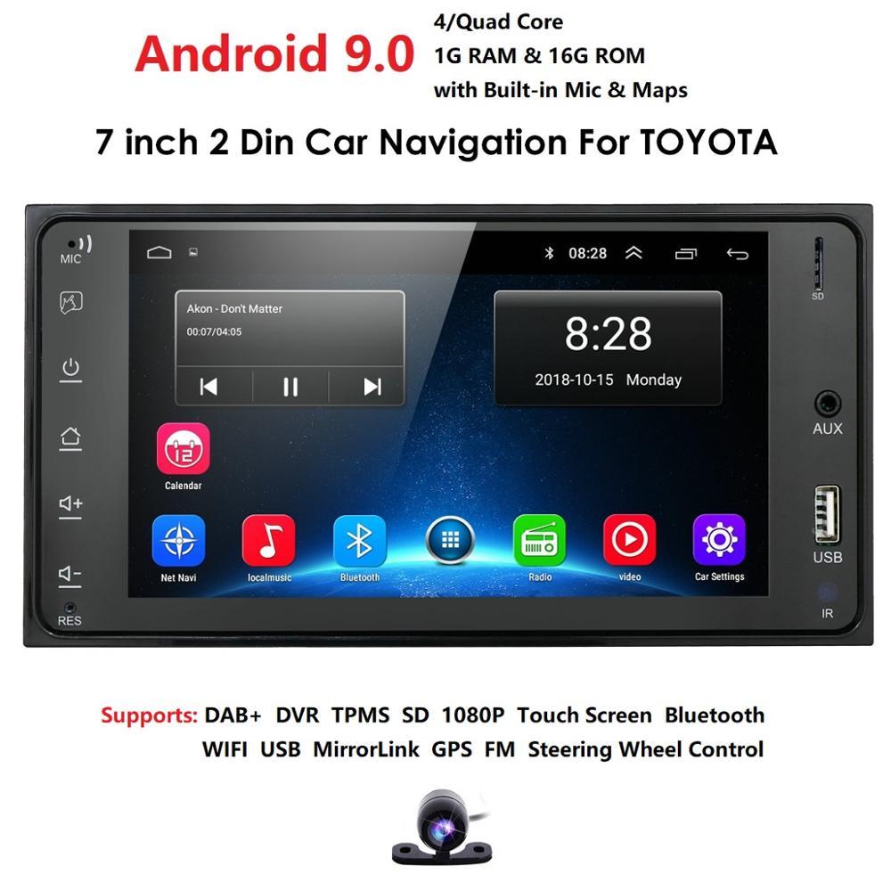 "7 ""Android 9,0 4 ядра 2Din автомобильный медиаплеер для Corolla E120 Toyota RAV4 Hilux Fortuner Innova Prado No DVD"