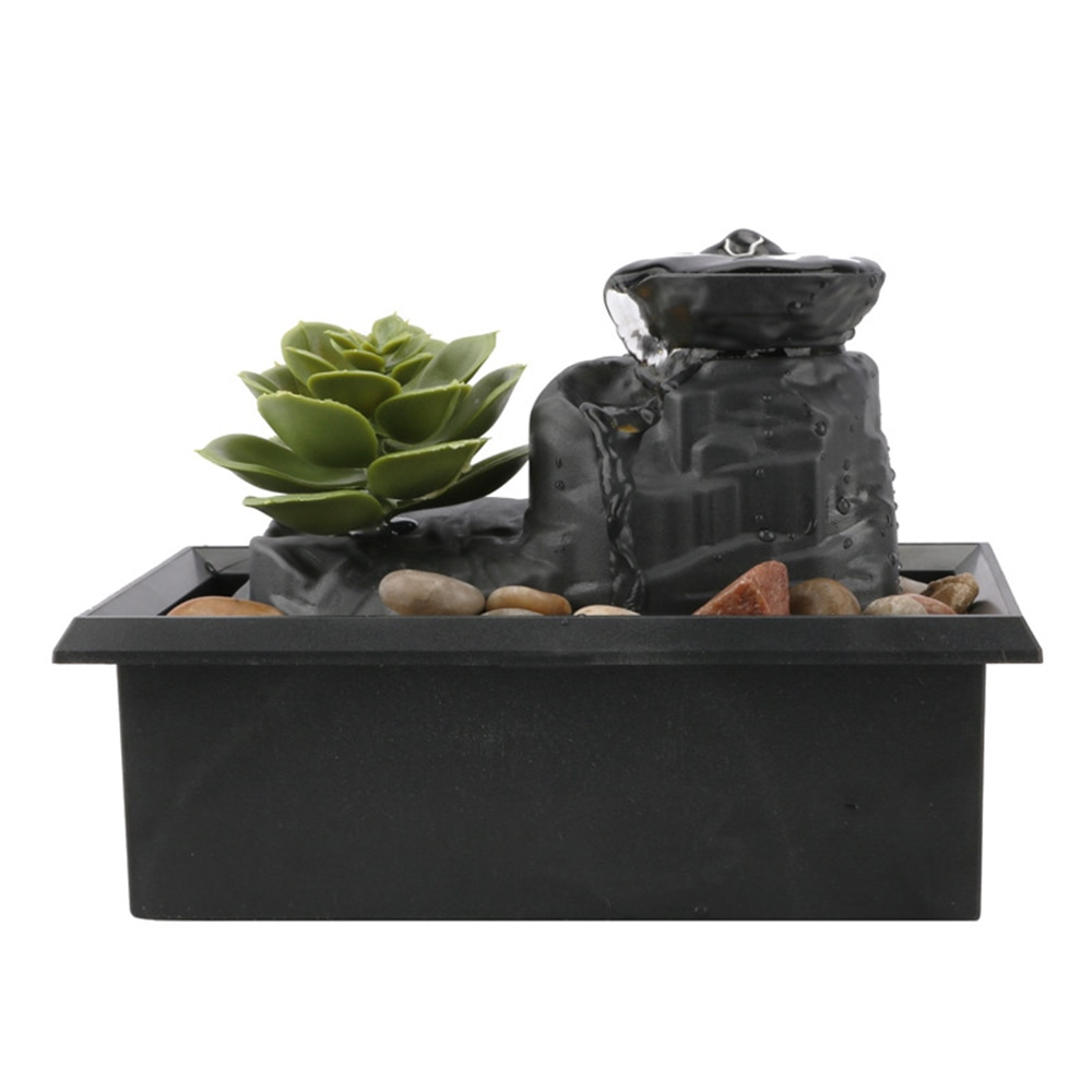 Decorative Fountains Indoor LED Light Water Fountains Creative Craft Desktop Home Decor Home Figurines FengShui Water Fountain