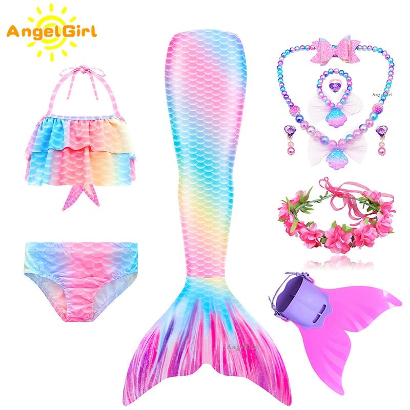 AngelGirl 2021 Girls Swimmable Mermaid Tail Princess Dress with Monofin Kids Holiday Mermaid Costume Cosplay Swimsuit Birthday