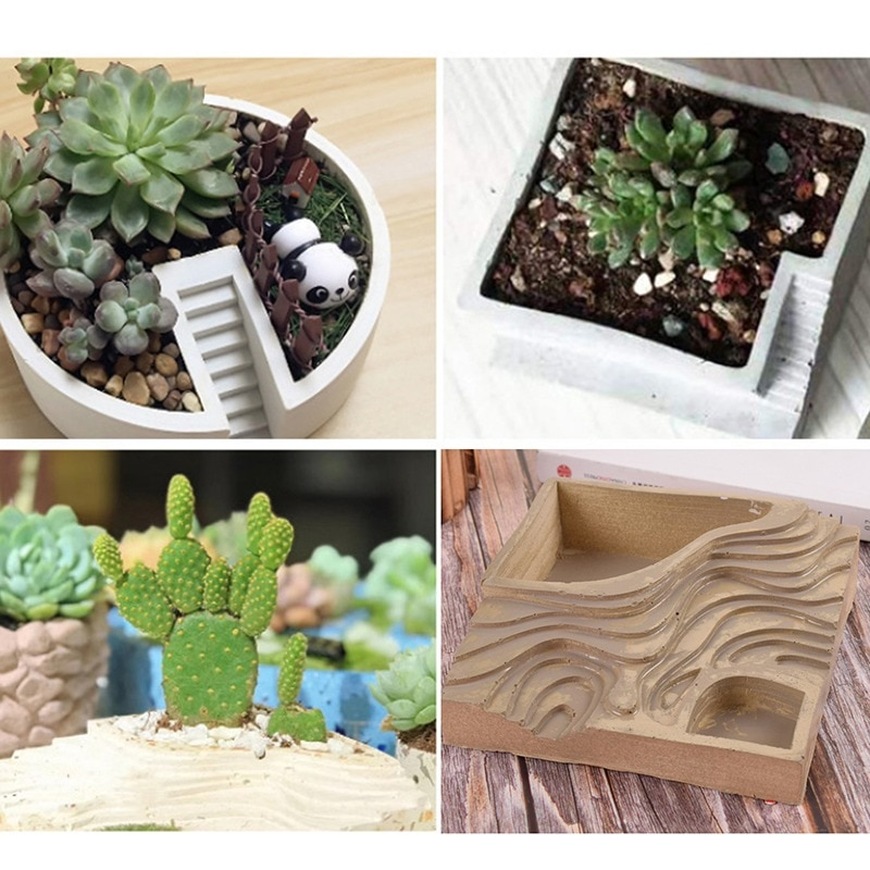 Mini Flowerpot Silicone Concrete Mold Geometry Tray Mould Cement Flower Pot Planter Mold Silicone Molds For Plaster Clay Crafts
