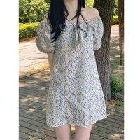 korean summer floral dress women casual slash neck bow sexy elegant bodycon dress chic short sleeve slim mini dresses 2021 new
