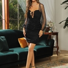 CY Summer Diamonds Square Neckline With Bubble Sleeves Black Grenadine Dress Women Evenging Party Ni