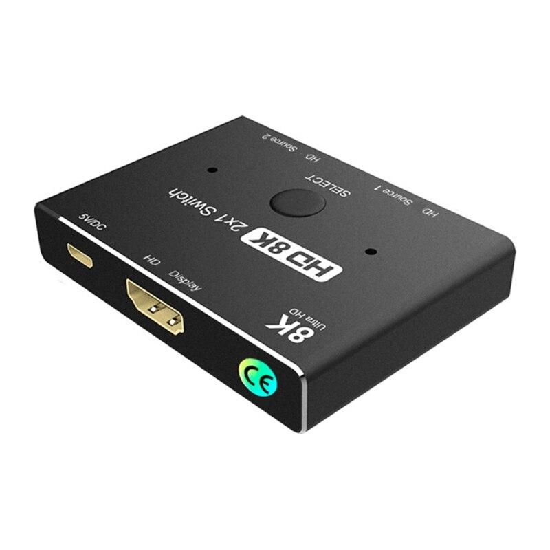 2021 novo hdmi21 compativel 8k switcher 2x1 dois em um para fora interruptor alto def conversor