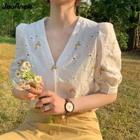 womens summer french graceful floral shirts 2021 lady fashion v neck short sleeve cotton blouse hollow out white tops female