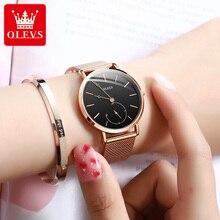 OLEVS Relogio Feminino Women's Watches Luxury Fashion Rose Gold Stainless Steel Mesh Band Ladies Wat
