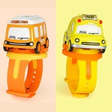 Kids Watch Toy Mini Alloy Bus Pull Back Car Watch Toy Baby Watch Touchable Music Light Children Gift