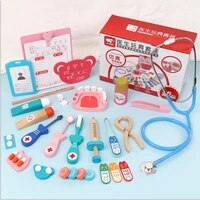 role play doctor kits for kids wooden dentist tool toys for toddlers pretend play medical doctor set with realistic stethoscope