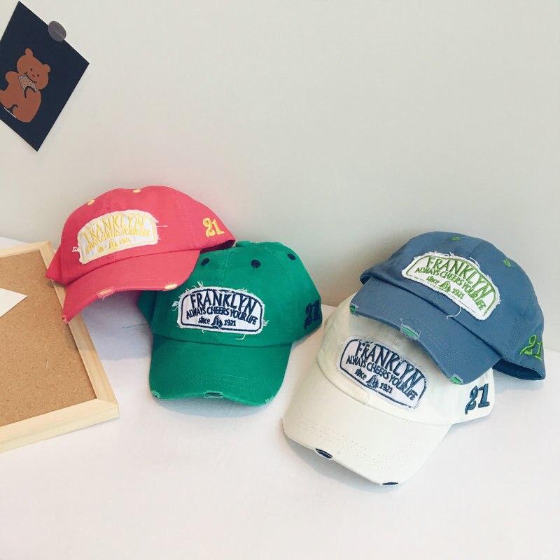 2020 Washed out Children's baseball cap spring summer The New Fluorescent Cotton Baby Cap Unisex Children's hip hop baseball cap