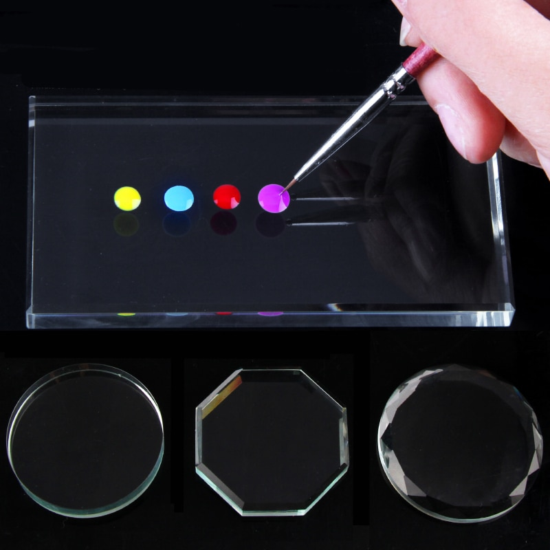 1 шт. зеркальная Палитра для ногтей, стеклянная ложная палитра, инструмент для упражнений для маникюра, краска для ногтей, маникюрные инструменты для ногтей