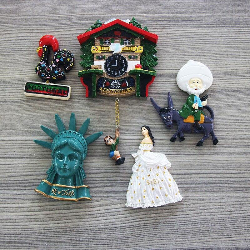 Imán de nevera Souvenir de viaje mundial decoración de gallo austríaco español pegatina magnética de resina hielo imán de nevera souvenir
