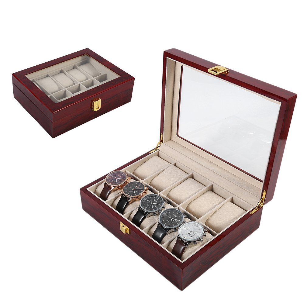 Wooden/Leather 8/10/12 Grids Watch Display Sunglass Case Durable Packaging Holder Jewelry Collection