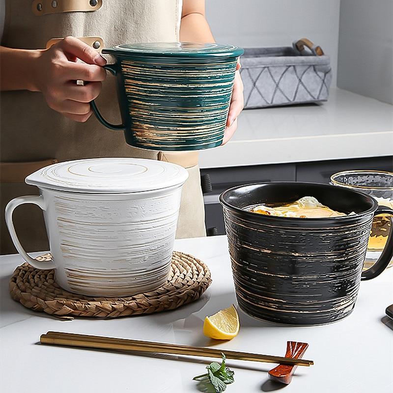 الإبداعية أكواب كبيرة الإفطار الحبوب طبق سيراميك Calix الحليب المياه مع غطاء أدوات المائدة حساء الفاكهة رامين الأصدقاء هدية أكواب حلوى