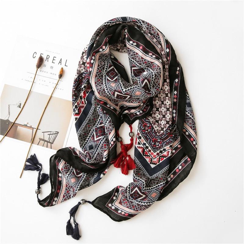 Women Fashion Bohemian Ethnic Geometric Tassel Viscose Shawl Scarf Lady High Quality Pashmina Stole Wrap Muslim Hijab 120*120Cm art ethnic geometry pattern tassel scarf