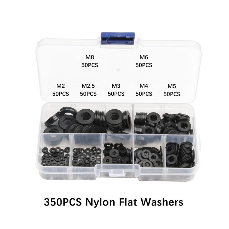 350/250 шт нейлоновые пластиковые изоляционные шайбы M2 M2.5 M3 M4 M5 M6 M8 черные нейлоновые прокладки уплотнения пластиковый комплект шайб Комплект прокладок кольцо
