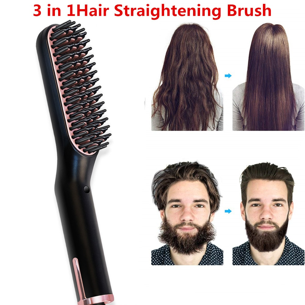 Hair Straightening Irons Beard Grooming Kit Boy Multifunctional Men Beard Straightener Styling Multifunctional Hair Comb Brush недорого