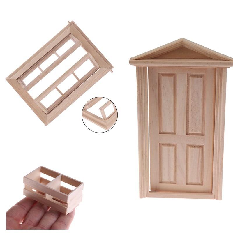 1pcs Miniature Wood Framed Furniture Kitchen Room Kits 1/12 Scale Dollhouse Door Window