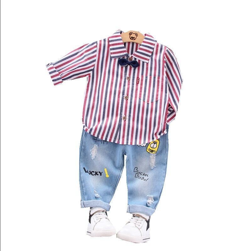 Фото Осенний Детский костюм для малышей Детские рубашки мальчиков и девочек штаны с