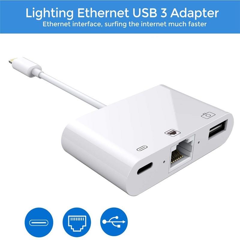 3 en 1 Lightning a RJ45 Hub 3,0 Ethernet LAN adaptador de...