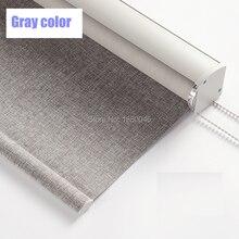 Stores à rouleau de style japonais   En alliage daluminium, en tissu de Texture coton et lin, de couleur grise, pour la chambre à coucher