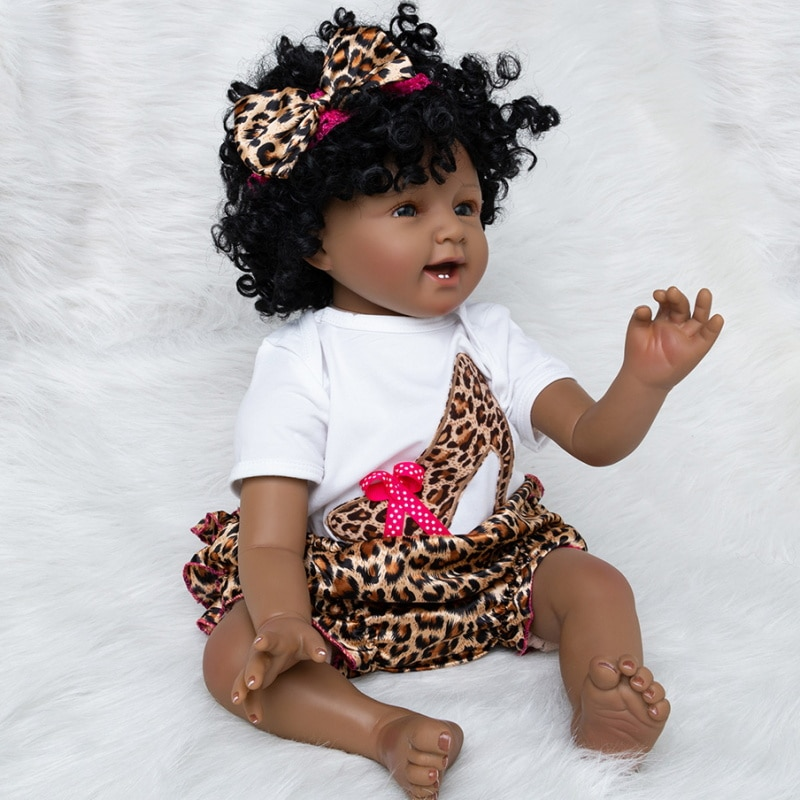 22inch About 56cm With Teeth Reborn Doll  Lifelike Real Touch Baby Cloth Body Soft Real Gentle Touch Vinyl Doll For Kid Gifts
