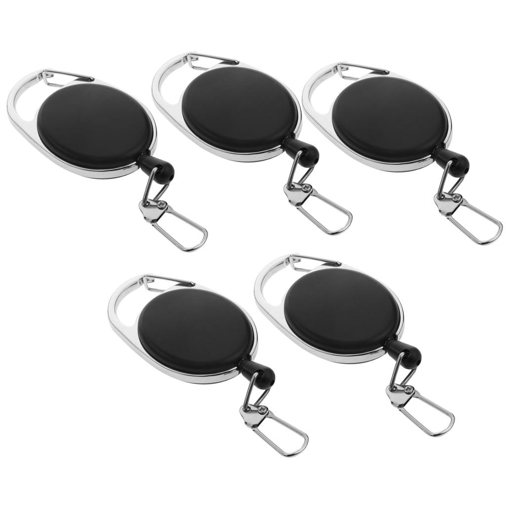 5 Unids Durable Recoil Nylon Llavero Pull Reel Key Ring Retractor ID