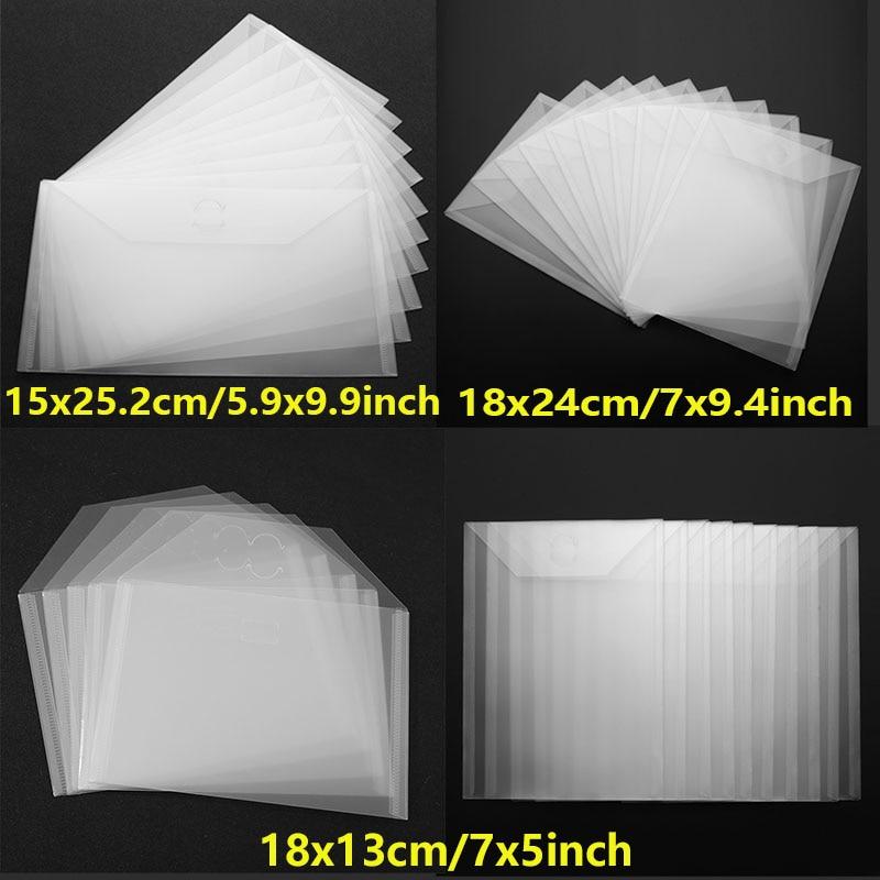 Set de 10 unidades de bolsas de plástico transparentes para carpetas de 15x25,2 cm/18x24cm/18x13cm, bolsas organizadoras para sellos de recortes, bolsas organizadoras