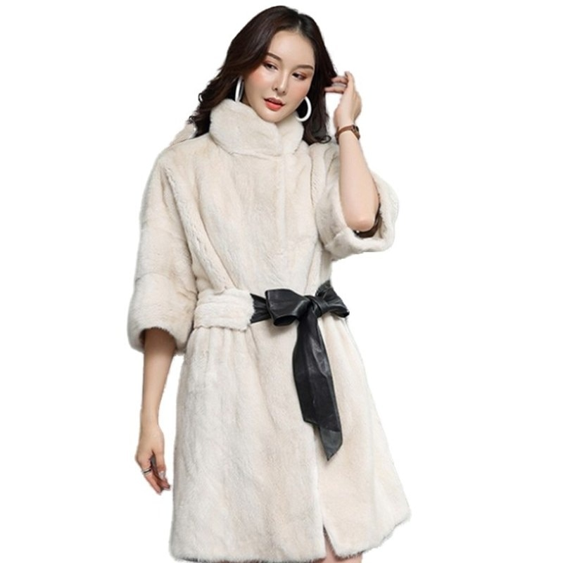 New V Neck Women's Warm Clothes Casual Mink Coat Luxury Natural Real Fur Long Section Customized
