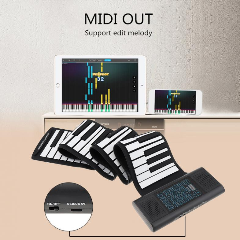 88 Keys Roll Up Electronic Piano Rechargeable Silicone Flexible Keyboard Organ Built-in 2 Speakers Support Bluetooth-compatible enlarge